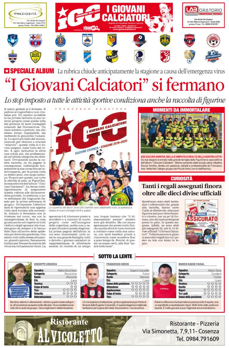 """""""I Giovani Calciatori"""" si fermano… solo su """"il Quotidiano del Sud""""!"""